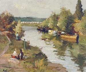Lovers on the River Bank at Amoureux, (1955)