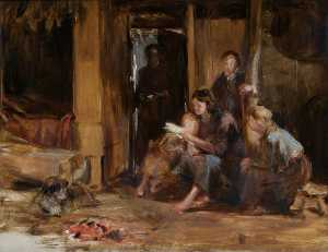 Interior of a Cottage with Figures