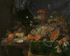 Still life with fruits and oysters