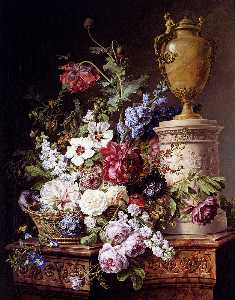 Still Life of Flowers in a Basket with Two Butterflies, a Dragonfly, a Fly and a Beetle by an Alabaster Urn on a Marble Pedestal