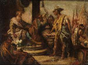 Mucius Scaevola puts his hand into the fire in front of the Etruscan prince Porsenna.