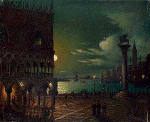 St. Mark's Square in Venice in the moonlight