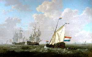 The yacht of the Chamber of Rotterdam for the Dutch East India Company salutes an East-Indiaman and a Dutch man-of-war on the roadstead of Hellevoetsluis.
