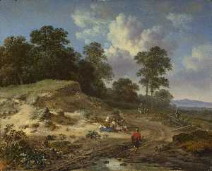 A Track by a Dune, with Peasants and a Horseman