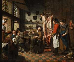 Workshop interior with a shoemaker, a butcher, a lacemaker and a boy who inflates a Saublase