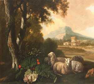 三 羊 一休みします と一緒に 建物や a ファーマー 教会に 背景