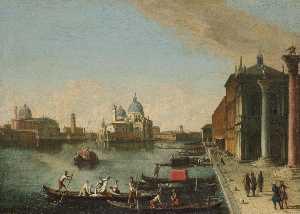 Venice, a view of the bacino di san marco with santa maria della salute beyond