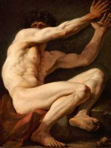 Assis homme nue avec le visage en partie couvert par son raised bras