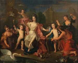 Mary Adelaide of Savoy, Duchess of Burgundy with their children