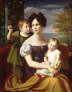 Grand Duchess Alexandrine with her children.
