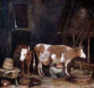 A Maid Milking a Cow in a Barn