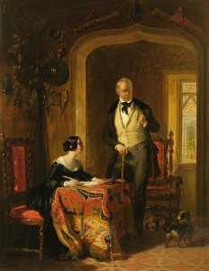 Monsieur walter scott Dicter à son Fille , Anne , dans le Arsenal au Abbotsford