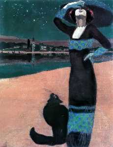 Slim Woman with a Cat