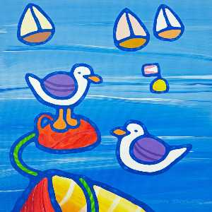 Two Gulls and Three Yachts