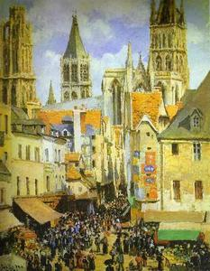 The Old Market-Place in Rouen and the Rue de l'Epicerie