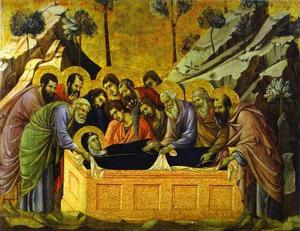 MaestÓ (front, crowning panels), The Entombment of the Virgin