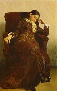 Rest. Portrait of Vera Repina, Artist's Wife