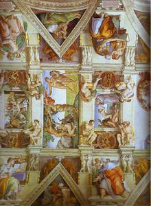 Partial view of the the frescoes in the Sisine Chapel
