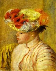 Young Woman Wearing a Hat with Flowers. (Jeune femme au chapeau de fleurs)