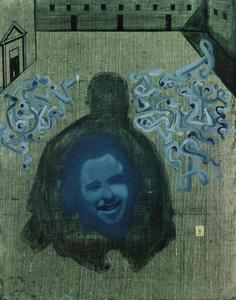 In the Courtyard of the Escorial, the Silhouette of Sebastian De Morra, in which the Face of Gala, Surrounded by Catastrophic Signs, Appears (stereoscopic work, unfinished), 1982