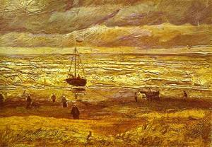 Beach with Figures and Sea with a Ship