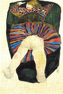 femme à demi nue étendue 1911