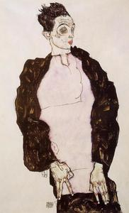 Self Portrait in Lavender and Dark Suit, Standing
