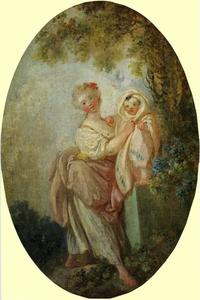 Young Woman Holding Up Her Child