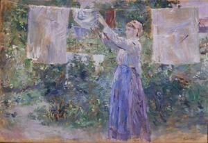 Peasant Girl Hanging Clothes to Dry