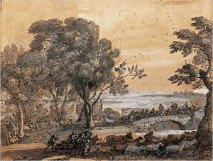 Coastal Landscape with a Battle on a Bridge