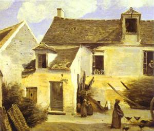 Cour d'une maison de paysans aux environs de Paris