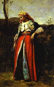 Pensive Woman in Oriental Dress