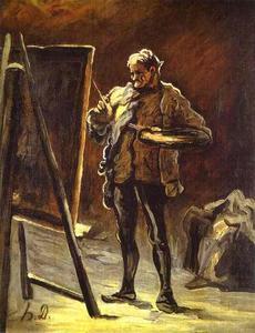 artiste en face de son toile