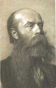 Brustbild eines bärtigen Mannes im Dreiviertelprofil