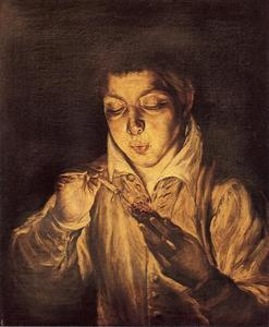 Boy Lighting a Candle (Boy Blowing on an Ember)