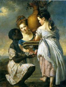 Un Conversación de las niñas ( dos niñas con su Negro Criada )