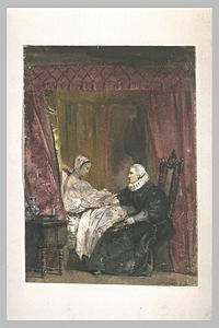 Old woman sitting with a young woman in bed