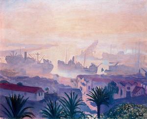 El puerto de Argel con bruma