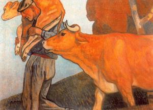 Baserritarra con vaca y ternera