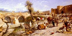 The Arrival Of A Caravan Outside Marakesh, The Mountains Of Atlas In The Distance
