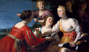 Diana Resting After The Hunt, With Shepherdesses And Two Greyhounds, A Landscape Beyond