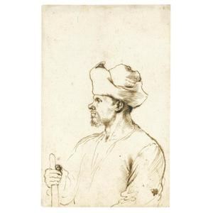 A man seen in profile, half length, wearing a hat and holding a stick