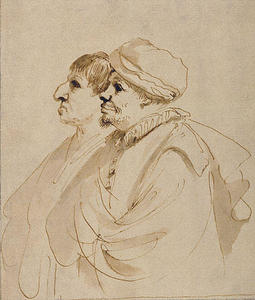 Caricature of Two Men Seen in Profile