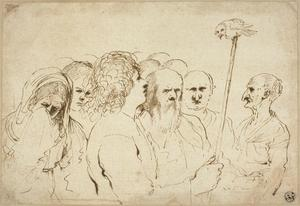 Group of Figures, with Owl on a Pole