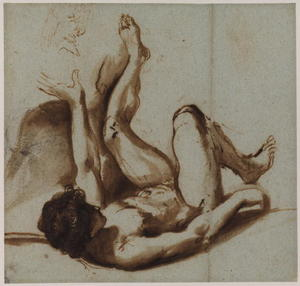 Nude figure of a young man lying on his back, with his left arm and leg raised