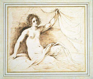 Nude holding a curtain