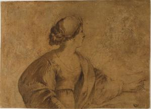 Woman in Profile, Pointing with Left Hand