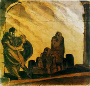 Virgil comforts Dante at the sight of Paolo and Francesca
