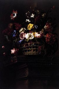 Basket of Flowers on a Plinth 1