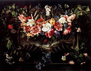 Garland of Flowers with Landscape